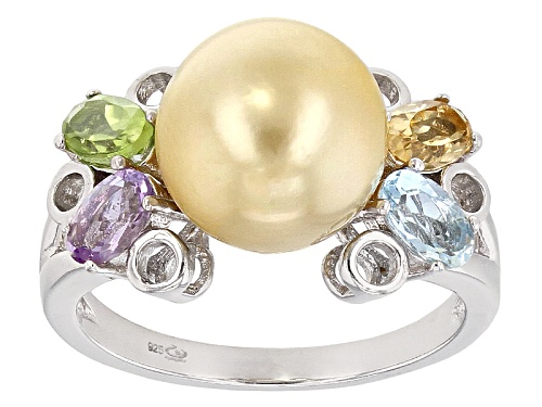 Photo of 9-10mm Golden Cultured South Sea Pearl & Multigem Rhodium Over Sterling Silver Ring - Size 8