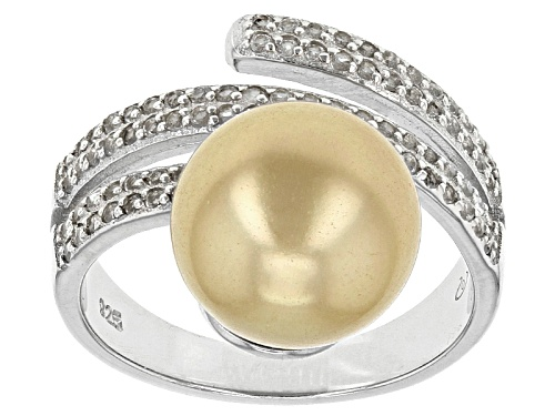 Photo of 10mm Golden Cultured South Sea Pearl With .63ctw White Topaz Rhodium Over Sterling Silver Ring - Size 9