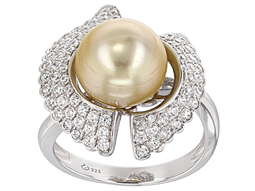 Photo of 10mm Golden Cultured South Sea Pearl With .70ctw White Zircon Rhodium Over Sterling Silver Ring - Size 11