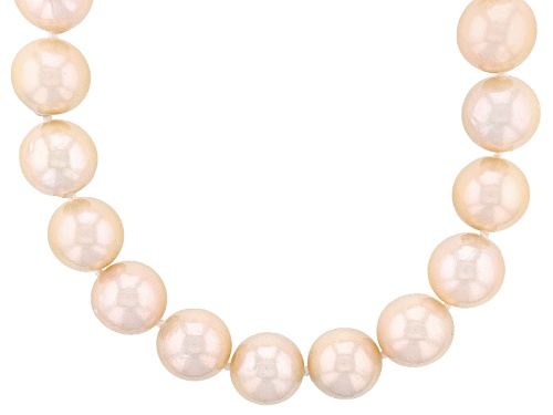 Photo of 11.5-13.5mm Cultured Natural Peach Freshwater Pearl Rhodium Over Silver 22 Inch Strand Necklace - Size 22