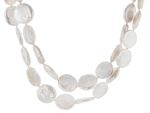 Photo of 18mm White Cultured Freshwater Pearl Rhodium Over Sterling Silver 19 Inch Double Strand Necklace - Size 19