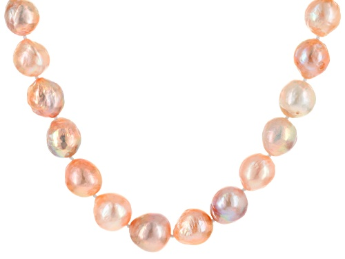 Photo of 12-15mm Pink Cultured Freshwater Pearl Rhodium Over Sterling Silver 20 Inch Strand Necklace - Size 20