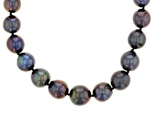 Photo of 10.5-13.5mm Black Cultured Freshwater Pearl Rhodium Over Sterling Silver 24 Inch Strand Necklace - Size 24