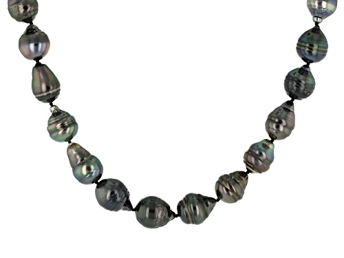 8.5-11.5mm Cultured Tahitian Pearl Rhodium Over Sterling Silver  18 Inch Strand Necklace - Size 18