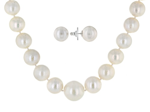 Photo of 11.5-13.5mm White Cultured Freshwater Pearl Rhodium Over Sterling 18 Inch Necklace And Earrings Set