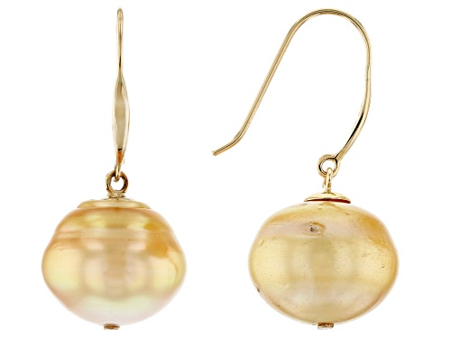 Photo of 12-13mm Golden Cultured South Sea Pearl 14k Yellow Gold Earrings