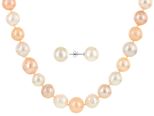 Photo of 11-13mm Multicolor Cultured Freshwater Pearl 14k White Gold 20 Inch Necklace & Earrings Set