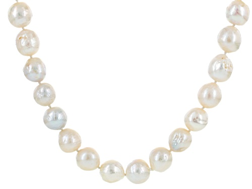 Photo of 12-14mm White Cultured Freshwater Pearl Rhodium Over Sterling Silver 36 Inch Strand Necklace - Size 36