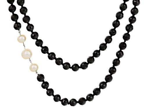 Photo of 8.5-10.5mm Cultured Freshwater Pearl & Spinel Rhodium Over Silver 20 Inch Double Strand Necklace - Size 20