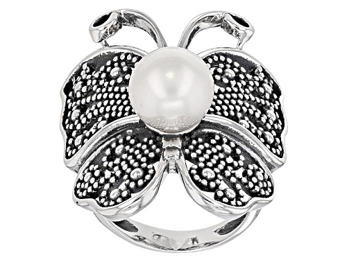 Photo of 9.5-10mm White Cultured Freshwater Pearl Rhodium Over Sterling Silver Butterfly Ring - Size 6
