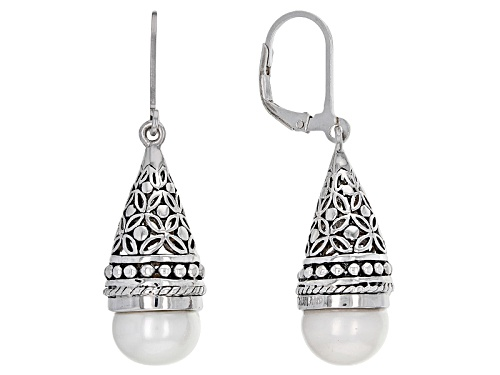 9.5mm White Cultured Freshwater Pearl Rhodium Over Sterling Silver Earrings