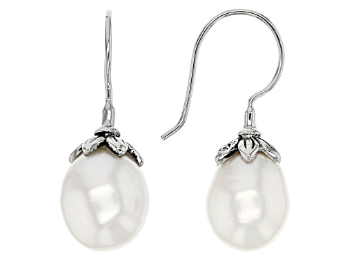 9.5-11.5mm White Cultured Freshwater Pearl Rhodium Over Sterling Silver Earrings