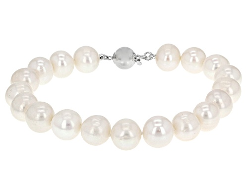 Photo of 9.5-10.5mm White Cultured Freshwater Pearl Rhodium Over Sterling Silver 9 Inch Bracelet - Size 9