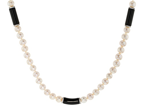 Photo of 7.5-8.5mm Cultured Freshwater Pearl, Black Onyx & Bella Luce® Rhodium Over Silver 24 Inch Necklace - Size 24