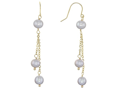 Photo of 5-6mm Gray Cultured Freshwater Pearl 10k Yellow Gold Dangle Earrings