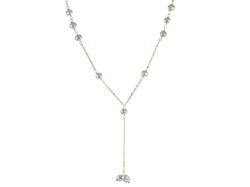 Photo of 5-6mm Gray Cultured Freshwater Pearl 10k Yellwo Gold 18 Inch Y Necklace With 2 Inch Extender - Size 18