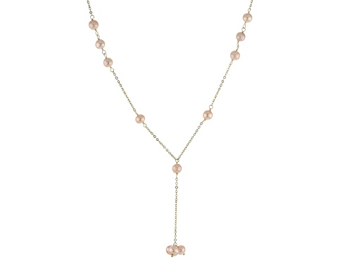 Photo of 5-6mm Pink Cultured Freshwater Pearl 10k Yellow Gold 18 Inch Y Necklace With 2 Inch Extender - Size 18