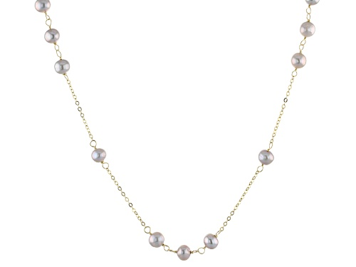 Photo of 5-6mm Pink Cultured Freshwater Pearl 10k Yellow Gold 24 Inch Station Necklace - Size 24