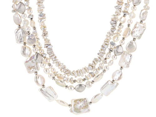 Photo of Free-Form White Cultured Freshwater Pearl Rhodium Over Sterling Silver 20 Inch Multi Strand Necklace - Size 20