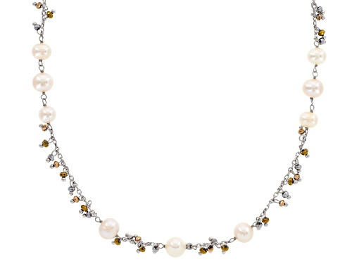 Photo of 7-10mm White Cultured Freshwater Pearl & Hematine Rhodium Over Sterling Silver 26 Inch Necklace - Size 26