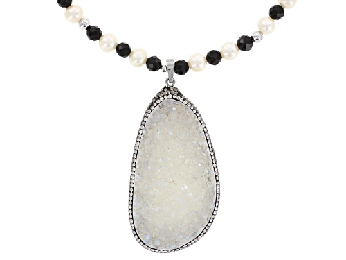 Photo of Cultured Freshwater Pearl, Drusy Quartz, Onyx, Diamond Simulant Rhodium Over Silver 20 Inch Necklace - Size 20
