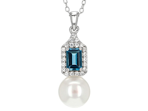Photo of 8.5-9mm Cultured Freshwater Pearl, London Blue Topaz & Zircon Rhodium Over Silver Pendant & Chain