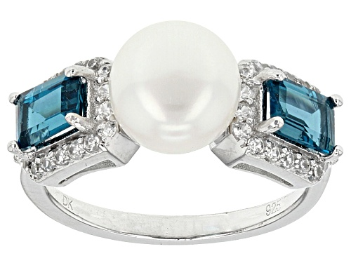 Photo of 8.5-9mm White Cultured Freshwater Pearl, London Blue Topaz & White Zircon Rhodium Over Silver Ring - Size 7