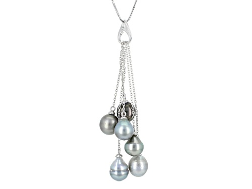 Photo of 8mm Cultured Tahitian Pearl Rhodium Over Sterling Silver Pendant