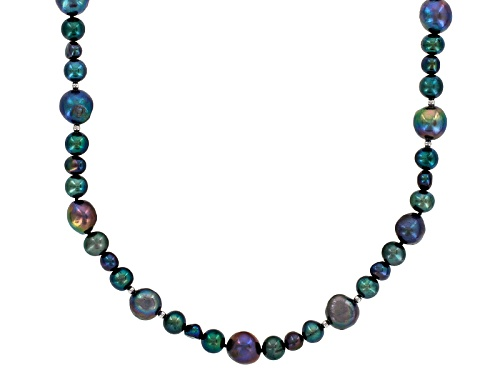 6-11mm Black Cultured Freshwater Pearl Rhodium Over Sterling Silver 48 Inch Endless Strand Necklace - Size 48