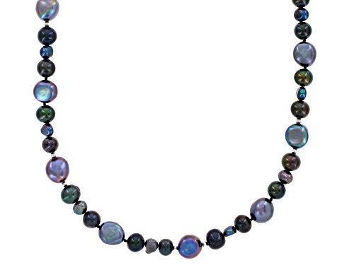 Photo of 6-11mm Black Cultured Freshwater Pearl Rhodium Over Sterling Silver 60 Inch Endless Strand Necklace - Size 60