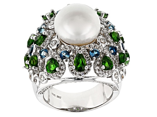 Photo of 11.5-12mm White Cultured Freshwater Pearl & 5.66ctw Multigem Rhodium Over Sterling Silver Ring - Size 12