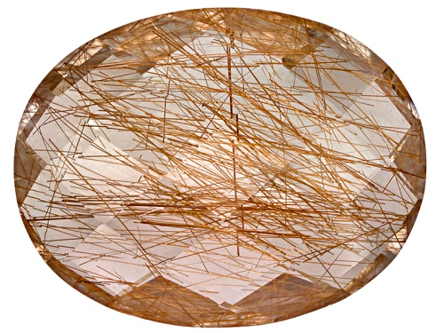 Photo of Brazilian Rutilated Quartz Avg 17.00ct 22x17mm Oval Double Cabochon Checkerboard Cut