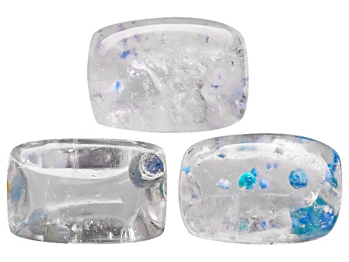 Photo of Set Of Three Brazilian Medusa Quartz Avg 1.70ctw 6x4mm Rectangular Cushion Cabochon