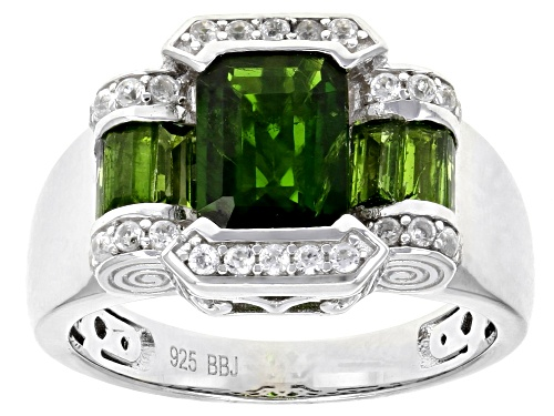 Photo of 2.23ctw Emerald Cut And Baguette Chrome Diopside With .21ctw Round White Zircon Silver Ring - Size 7
