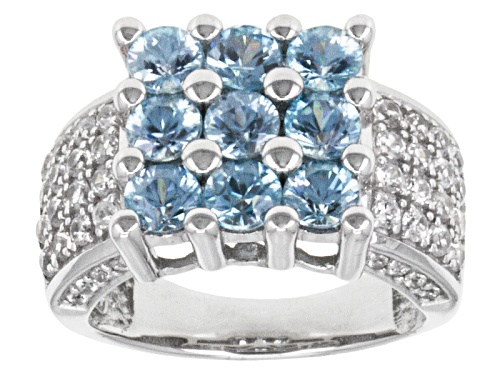 Photo of 3.09ctw Round Cambodian Blue Zircon With 1.13ctw Round White Zircon Sterling Silver Ring - Size 5