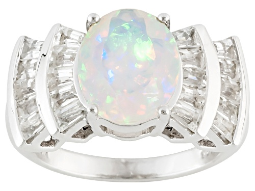 Photo of 2.00ct Oval Ethiopian Opal With 1.52ctw Baguette White Zircon Sterling Silver Ring - Size 11