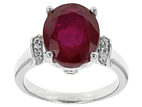 Photo of 6.40ct Oval Mahaleo® Ruby, .02ctw Round Red Spinel With .08ctw Round White Zircon Silver Ring - Size 12