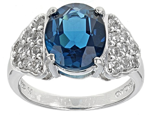Photo of 3.75ct Oval London Blue Topaz With .62ctw White Topaz Sterling Silver Ring - Size 5