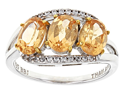 Photo of 2.32ctw Oval Imperial Hessonite™ With .13ctw Round White Zircon Sterling Silver 3-Stone Ring - Size 7