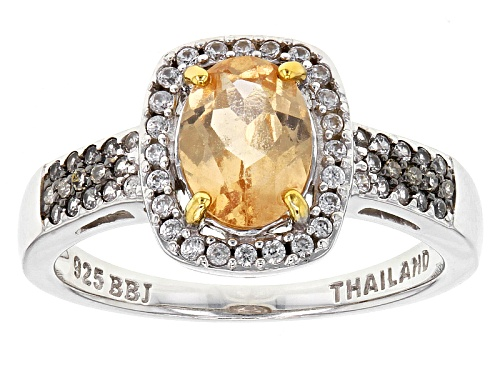 Photo of 1.16ct Oval Imperial Hessonite™, .27ctw White Zircon, .02ctw Champagne Diamond Accent Silver Ring - Size 8