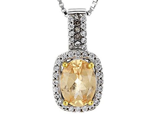 Photo of 1.33ctw Imperial Hessonite™,White Zircon & .02ctw Champagne Diamond Accent Silver Pendant W/Chain