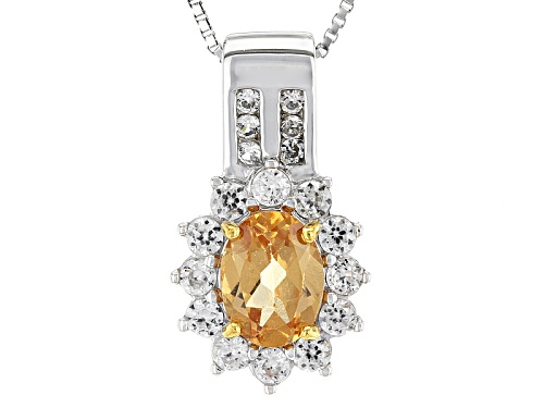 Photo of 1.16ct Oval Imperial Hessonite™ With .71ctw Round White Zircon Sterling Silver Pendant With Chain