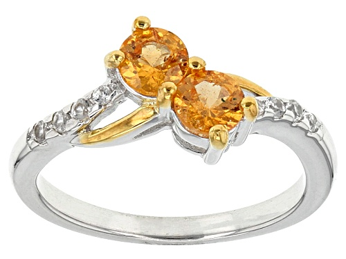 Photo of .54ctw Round Mandarin Garnet  And .11ctw Round White Zircon Two-Tone Silver 2-Stone Ring - Size 10