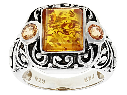 Photo of 1.10ct Rectangular Cabochon Amber And .54ctw Round Spessartite Sterling Silver Ring - Size 7