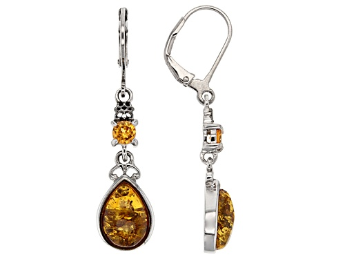 Photo of .54ctw Round Spessartite And 10x7mm Pear Shape Amber Sterling Silver Leverback Earrings