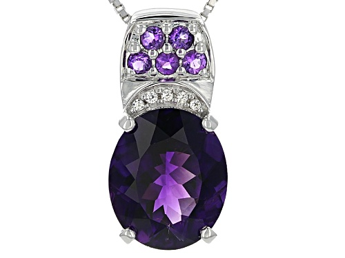 Photo of 3.49ct Oval and Round .17ctw Moroccan Amethyst, .03ctw White Zircon Silver Pendant W/Chain