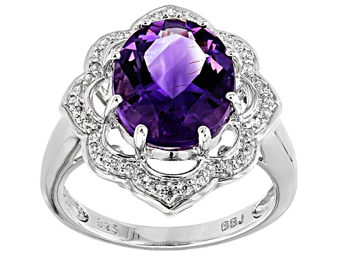 Photo of 3.49ct Oval Moroccan  Amethyst With .24ctw White Zircon Sterling Silver Ring - Size 7