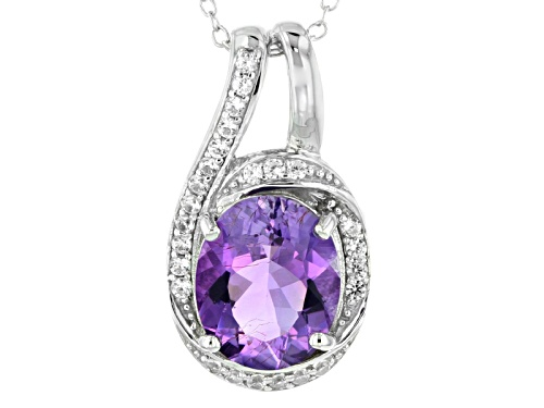 Photo of 2.64ct Oval Moroccan Amethyst And .19ctw Round White Zircon Sterling Silver Pendant With Chain