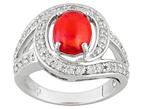 Photo of .91ct Oval Orange Ethiopian Opal And .59ctw Round White Zircon Sterling Silver Ring - Size 8