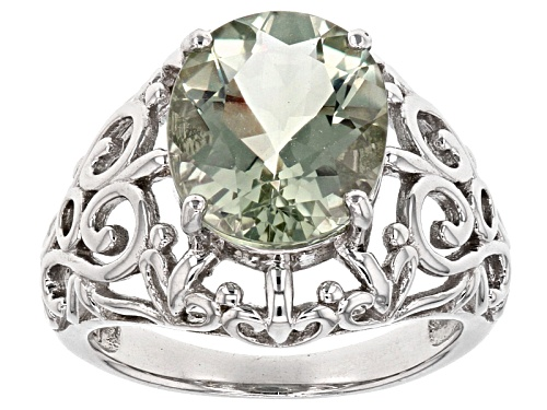 Photo of 3.63ct Oval Green Prasiolite Solitaire Rhodium Over Sterling Silver Filigree Ring - Size 6